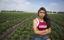Dayane Zuñiga used to run for the Oxnard High School track and field team where her route often took her right down rows of strawberry fields where say says pesticides were sprayed. She brought it to the attention of school officials. ©Todd Bigelow/2015
